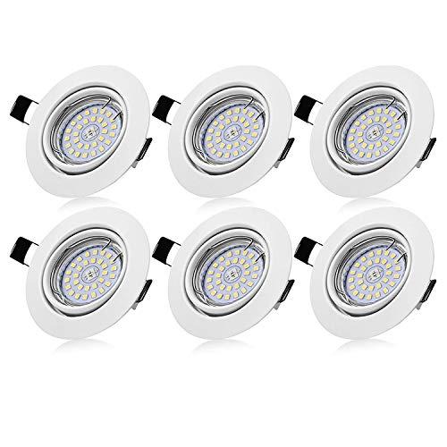Bojim 6× GU10 Faretti LED da incasso per cartongesso dimmerabile, 6W Luce Calda 2800K 600LM Pari a 54W 82RA IP20 230V, Faretti a led per interni Rotondo Orientabili di 30°Foro 68-80mm