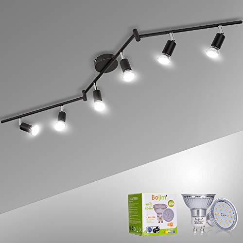 Bojim Faretti LED da Soffitto Orientabili, Lampadario da Soffitto Luce Bianco 4500K, con 6 Luci GU10 da 600LM 6W = 54W, Plafoniera Led per soggiorno, camera da letto, Lampadario in metallo Nero 230V