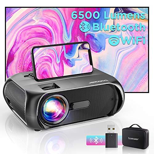 """Bomaker Proiettore Portatile WiFi, Videoproiettore 6000 Lm 720P Nativo con Display 300"""" per Home Cinema, Supporto Full HD 1080P, Mirroring Schermo, per iPhone/Android/Laptop/Lettori DVD/Win10"""