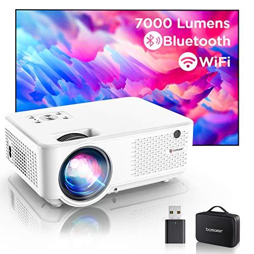 """Bomaker Proiettore WiFi Nativo 800P, Videoproiettore Full HD, 7000 Lm Wireless, Supporta 1080P Decodifica per Smartphone, 300"""" Compatibile Android/iPhone/Win10/Laptop/HDMI/Fire TV Stick/Chromcast"""