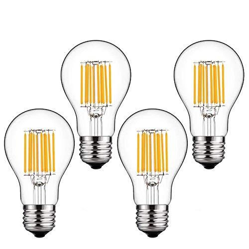 Bonlux 10W E27 LED Filamento Lampadina 4-Pezzi Bianco Caldo 2700K A60 Classic vite ES Vintage LED Edison lampadina 100W incandescente sostituzione (Non Dimmerabile)