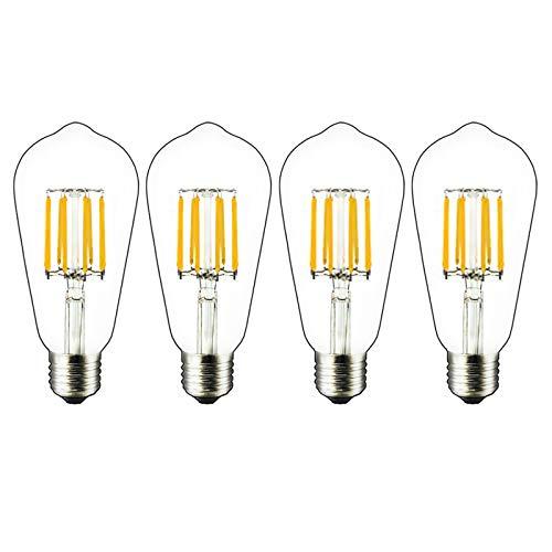 Bonlux Lampadine a Filamento LED E27 Dimmerabile 8W, Sobstituzion per Lampadine a Incandescenza 60-80W, Lampadina Classico ST64 LED Vintage Bianco caldo 2700K (Confezione da 4)
