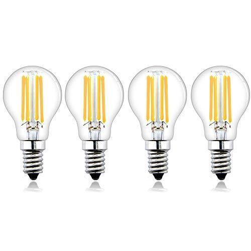 Bonlux Lampadine a LED E14 Dimmerabili Lampadine a Vite Piccola Edison 4W, Lampadine Filamento Vintage LED E14 SES Bianco Caldo 2700K, Lampadine Alogene E14 Sostituzione 35W-40W (4pz)