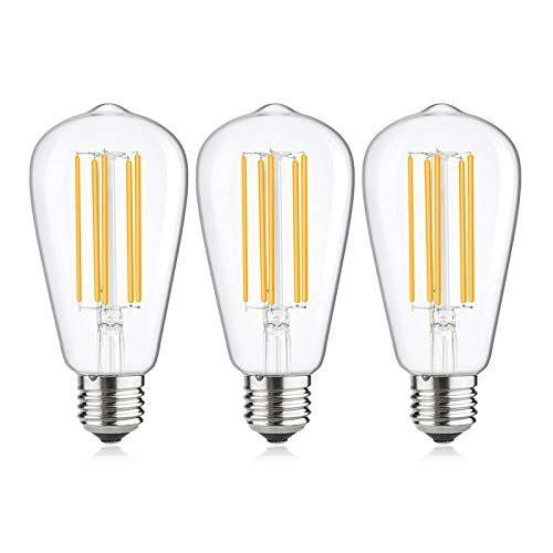 Bonlux LED Lampadina Edison 15W, ST64 Edison Vintage Lampadine di Filamento LED E27 Base Bianco Freddo 6000K Equivalenti a 150W Lampadina Alogena Decorativo Luce Ideale per Casa Ristorante Bar Caffe