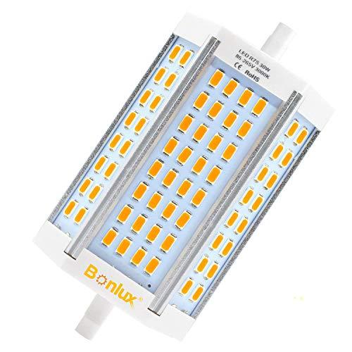 Bonlux R7s 118mm LED Dimmerabile 30W, Sobstituzione per 200W-300W R7s J118 Lampadina Alogena Lineare Bianco Caldo 3000K, Lampadine R7s J118 per Lampada Riflettore Proiettore, Lampada Soffitto