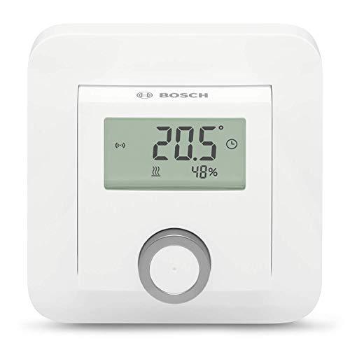 Bosch Smart Home Termostato Ambiente (2x Batterie AAA, per Termostati per Radiatore, Inclusa Indicazione dell'Umidità - Compatibile con Google Assistant e Alexa)
