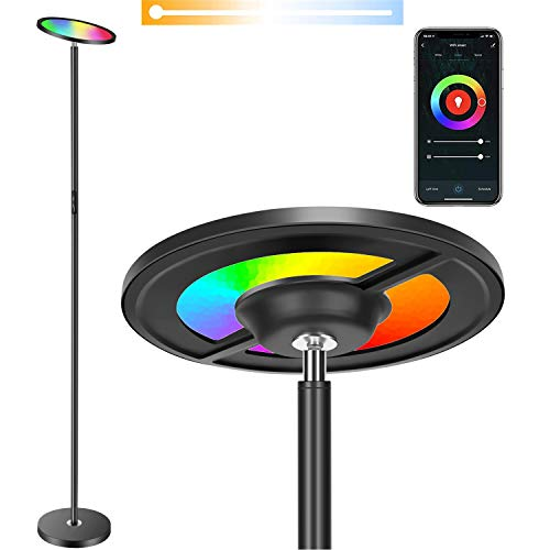 BOXLOOD Lampada da Terra LED Smart Compatibile con Alexa e Google Home - Intelligente Piantana a LED RGB Cambia colore Rondella a soffitto WiFi dimmerabile 25W 2000lm, su e giù