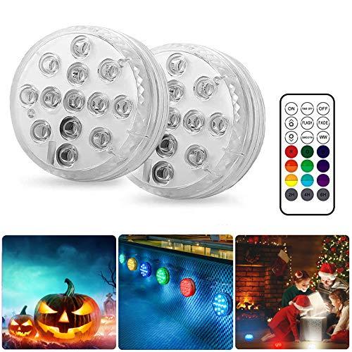 BOZHZO LED Sommergibili Luci Piscina, Luce a 2×13 LED RGB con Telecomando Ventosa magnetica, Per Giardino/Cerimonia Nuziale/Partito/Piscina/Laghetto/vaso/Acquario Fish Tank Decorazione(2 pezzi)