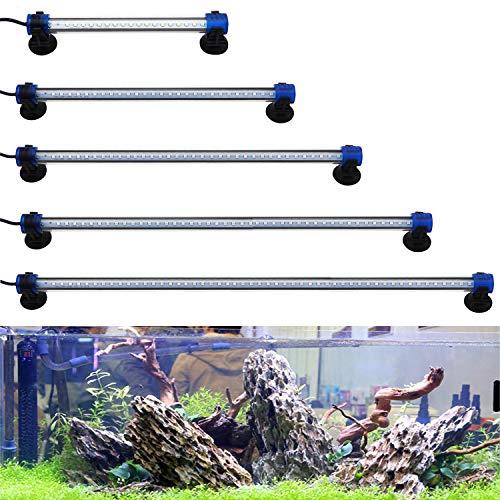 BPS - Luce bianca/blu a LED impermeabile per acquario, per vasca, con morsetto, luce per l'illuminazione delle piante dell'acquario, di diverse tensioni e lunghezze