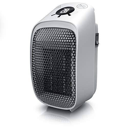 Brandson - Mini termoventilatore ceramico – Stufetta da Presa 400 W – Timer da 1 a 12 Ore – Termostato da 15 a 45 Gradi – per Prese Verticali e Orizzontali – Automatico – Comodo - Efficace – Compatto