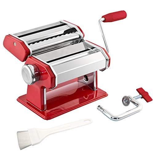 bremermann Macchina per la Pasta Spaghetti, Pasta e Lasagne (7 Fasi), Macchina per la Pasta, pastamaker (Acciaio/Metallo Rosso)