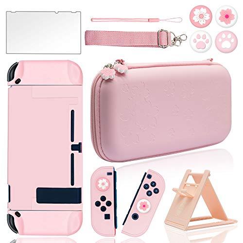 BRHE - Kit di accessori da viaggio per Nintendo Switch con custodia rigida, pellicola protettiva in vetro, supporto regolabile ultra sottile e tappi per pollice, 10 in 1, colore: Rosa