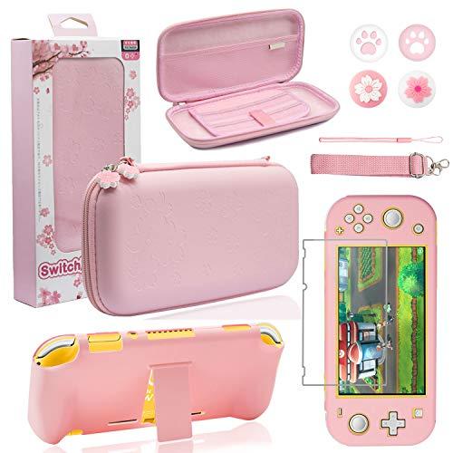 BRHE - Kit di accessori per Nintendo Switch Lite, custodia protettiva rigida con supporto, protezione per schermo in vetro, 9 in 1, colore: Rosa