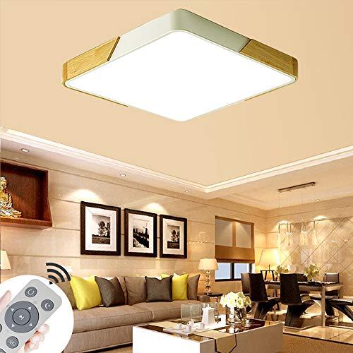 BRIFO 60W Lampada Da Soffitto A LED In Legno Dimmerabile, Lampada Da Soffitto Per Hall,Soggiorno,Cucina,Dimmerabile (3000-6500K) con telecomando (60W Dimmerabile Bianca)