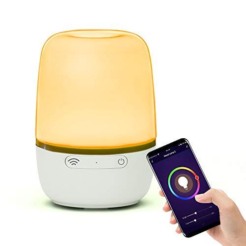 Brilex Lampada da Tavolo Smart WiFi, Lampada da Comodino Funziona con Alexa Google Home, Comodino Dimmerabile a LED, Luce Notturna Bianca e RGB che Cambia Colore per Camera dei Bambini, Soggiorno