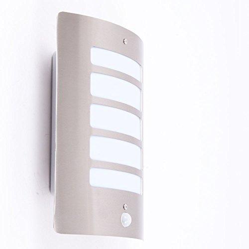 Brilliant 47698/82a + + to e, lampada da parete per esterni con sensore di movimento, 60W, E27, in acciaio inox, 9x 24x 29cm
