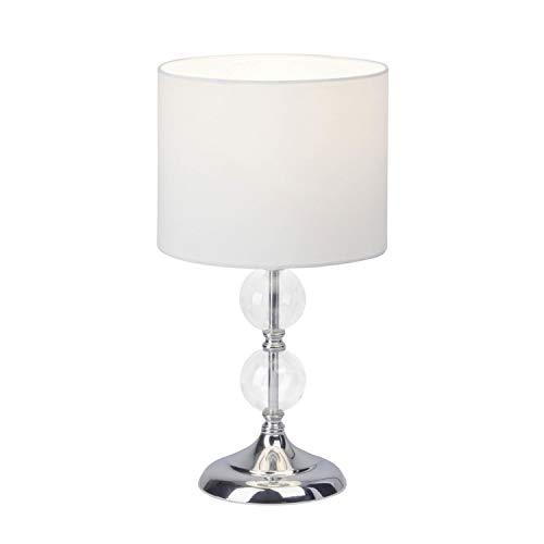 Brilliant 94861/05Rom lampada da tavolo, metallo/vetro/Tessile, E27, 60W, cromo/bianco
