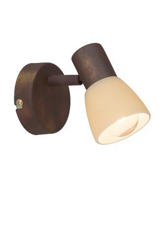 Brilliant Luca 35810/56 - Faretto da parete, 1 lampadina E14 max. 40 W, in metallo e vetro, colore: Rame anticato/champagne, reflektor, marrone