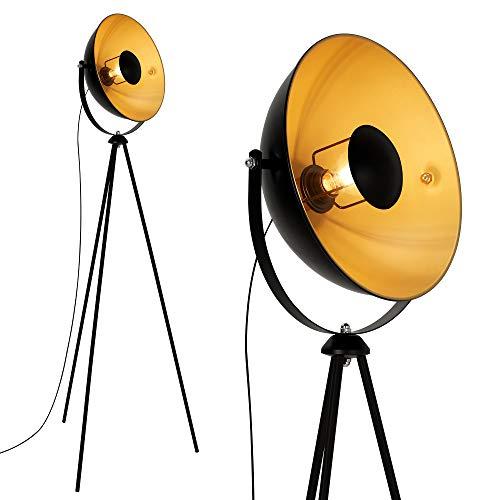 Briloner Leuchten 1380-015 Piantana Retro Vintage E27, 60 W, Nero/Oro, 148 x 58 x 148cm
