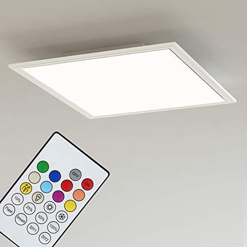 Briloner Leuchten 3031-016 Pannello LED Luminoso Quadrato a soffitto – Dimmerabile, Cambio RGB e Temperatura Colore con App e Telecomando, Bluetooth, 18 W, Bianco