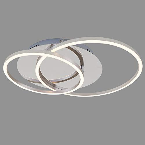 Briloner Leuchten 3228-018 Plafoniera a LED, Dimmerabile, con Funzione Memory, Orientabile, 3200 Lumen, di Colore Alluminio Cromato, Diametro 30 Cm, 40 Watt W, Chrom-Alu