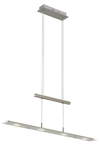 Briloner Leuchten 4005-012 Lampadario LED a Sospensione da soffitto – Design lineare ed Elegante, Barra con Fili ad Altezza Regolabile – 18 Watt, 1600 Lumen, W, Nichel Opaco