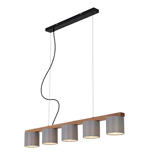 Briloner Leuchten Lampada a Sospensione con 5 luci, retrò/Vintage, Regolabile in Altezza, 5X E14, Max. 25 Watt, Metallo-Legno, con paralumi in Tessuto, 1100x150x, Nero/Grigio