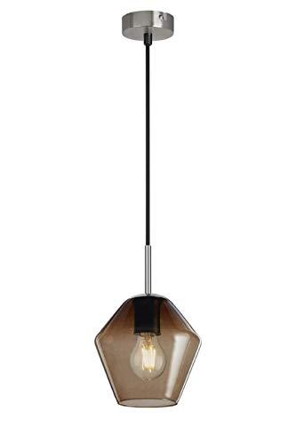 Briloner Leuchten - Lampada a sospensione con vetro pentagonale marrone, base in nichel opaco, E27, max 40 W, con cavo tessile, lunghezza 1,20 m