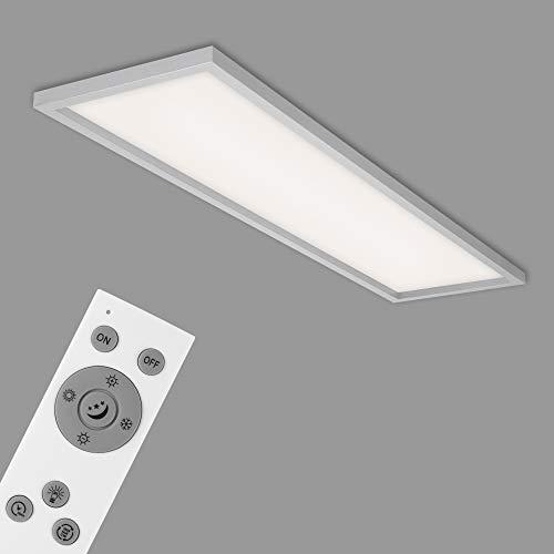 Briloner Leuchten Lampada da soffitto a LED, plafoniera dimmerabile, incl. Telecomando, Regolazione della Temperatura di Colore, 36 Watt, Cromo, 1195x295x80mm, Effetto Cromato-Opaco