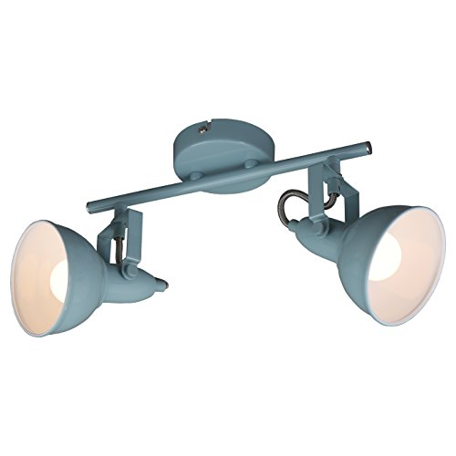 Briloner Leuchten Lampada da soffitto, plafoniera con 2 spot girevoli e orientabili in un design retrò/vintage, versione: E14 max. 40 Watt, metallo, dimensioni: 30.4x10x18.1 cm, colore: bianco menta