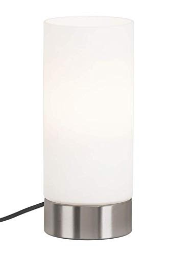 Briloner Leuchten - Lampada da tavolo a LED, cavo con interruttore da 1,6 m, lampada da tavolo E14 max. 40 Watt, paralume in vetro bianco, nichel opaco, 24 x 10 cm (AxD)