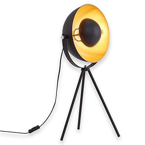 Briloner Leuchten Lampada retro vintage, lampada, da tavolo, treppiedi, max. 60 W, montaggio E27, Ø 28 x 30 x 64 cm (D plafoniera x P x A), metallo