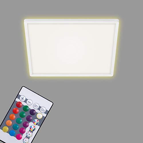 Briloner Leuchten Pannello a LED a soffitto, plafoniera dimmerabile, RGB, Controllo del Colore, retroilluminazione, incl. Telecomando, 22 Watt, 2.700 Lumen, Bianco