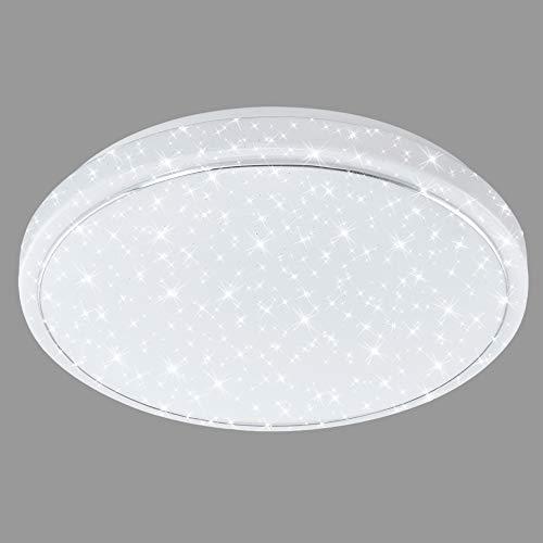 Briloner Leuchten Plafoniera a LED da soffitto Design con Stelle e Anello Cromato 23 W, Bianco, Ø 38 cm