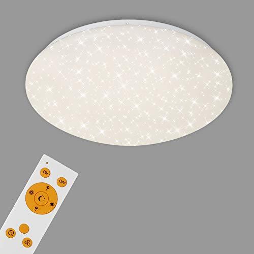 Briloner Leuchten Plafoniera a LED da soffitto – Dimmerabile, Design con Stelle, Regolazione della Temperatura di Colore con Telecomando, 22 Watt, 220 W, Bianco