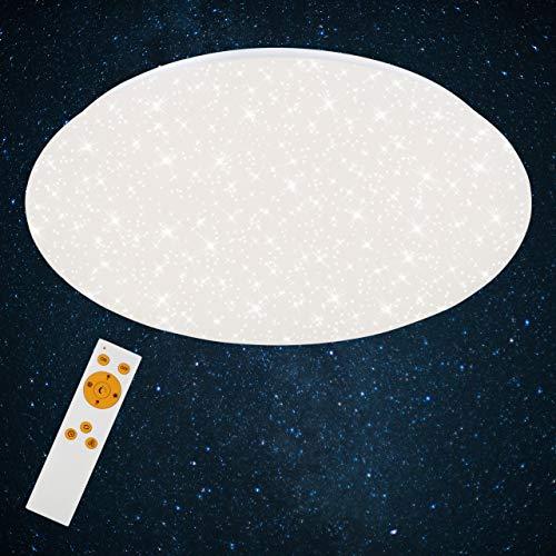 Briloner Leuchten Plafoniera a LED da soffitto – Dimmerabile, Design con Stelle, Regolazione della Temperatura di Colore con Telecomando, 40W, 4000 lm, Bianco