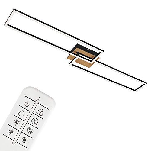 Briloner Leuchten Plafoniera a LED, Lampada da soffitto dimmerabile con Telecomando, Luce Notturna, Timer, Legno-Nero, 1100 x 248 x 85mm