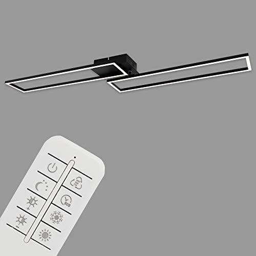 Briloner Leuchten - Plafoniera a LED, lampada dimmerabile, incl. telecomando, con regolazione della temperatura, funzione luce notturna e timer, nero, 1100 x 248 x 78 mm (larghezza x lunghezza x H)