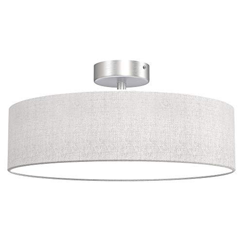 Briloner Leuchten Plafoniera da soffitto con Paralume in Tessuto – Ideale per Soggiorno e Camera da Letto – Compatibile con 3 lampadine E14 Max. 40 WA W, Weiß-Satin, Ø 40cm