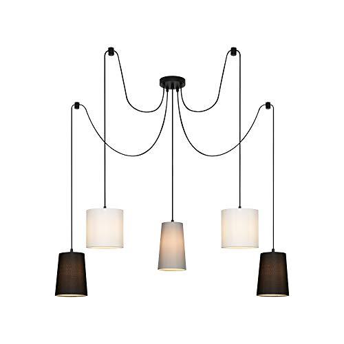 Briloner Leuchten - Plafoniera, lampada a 5 lampadine a sospensione, 5x E14, paralume in tessuto, nero-bianco-grigio,1.000x1.450mm (DxH)