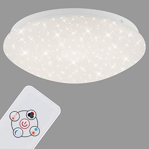 Briloner Leuchten - Plafoniera LED con telecomando, luce notturna, dimmerabile, in metallo, 10 W, colore: Bianco