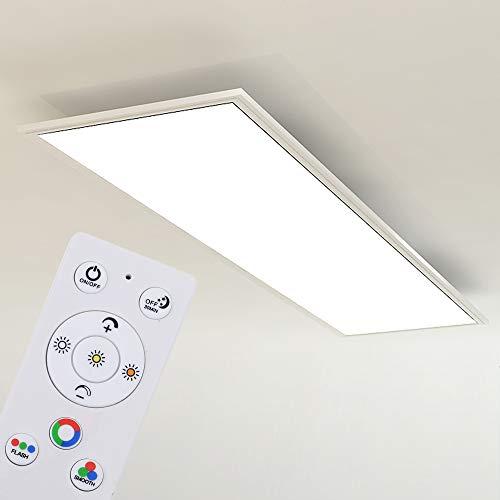Briloner Leuchten - Plafoniera LED da soffitto Dimmerabile, Luce calda neutra fredda, telecomando incluso, LED integrati 23W, 2200 Lm, Pannello Rettangolare Piatto Bianco 1.000x250x48mm