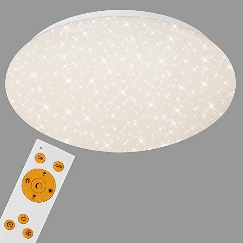 Briloner Leuchten - Plafoniera LED Dimmerabile, decoro a stelle, Luce calda neutra fredda, include telecomando, LED integrati 1300Lm 15W, Ø29.3 cm, Lampada da soffitto per camera, plastica IP20