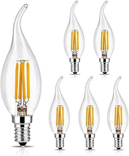 BRIMAX Lampadine Led E14 C35T Lampadina Filamento, Stile Vintage, Bianco Caldo 2700k, 4w Equivalenti a 40w Bulb a Incandescenza Equivalente Vintage Edison Angolo a 360 Gradi, Dimmerabile - 6 Pezzi
