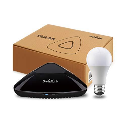 Broadlink RM PRO+ WiFi Smart Home Hub, IR RF Automazione Telecomando Universale Tutto in Uno - Nero (RM Pro+/Smart Blub)