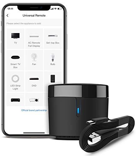 BroadLink RM4 mini S Smart Remote e set di cavi sensore, hub di controllo remoto IR universale con cavo USB Monitoraggio dell'umidità della temperatura Cavo USB, funziona con Alexa, Google Home, IFTTT