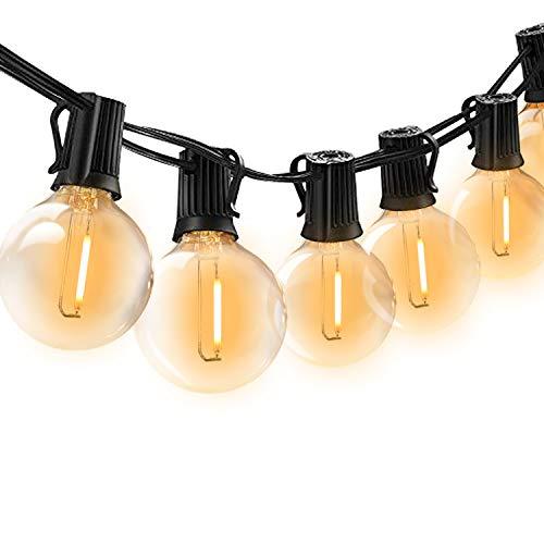 BRTLX 18Ft Catena Lampadine LED Esterno con 12Pcs LED G40 Luci Giardino Lampadina Decorative (2 Lampadine di Ricambio) per Giardino, Festa, Matrimonio, Party Decorazioni di Nozze