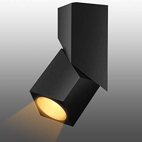 Budbuddy 12W LED faretti da soffitto cubo interni Spot light orientabili Faretti Lampada nero plafoniera faretti moderna per cucina negozio sala, 3000K aluminum