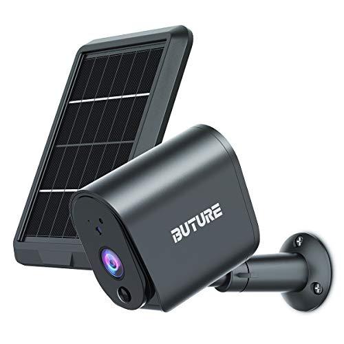 BuTure Telecamera Wifi Esterno con Pannello Solare, 1080P Videocamera Sorveglianza Wireless a Batteria, Rilevatore di Movimento, Visione Notturna, IP65, Audio a 2 Vie, Alexa, SD/Cloud