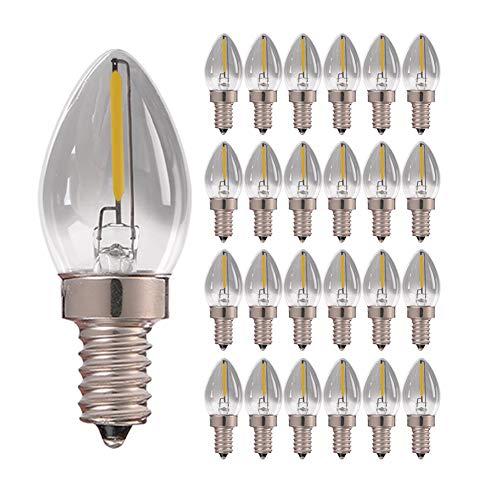 C7 Lampadina a candelabro a filamento LED, vintage Edison E14 Base (vetro fumé) Lampadine a LED, 0,5 W (5 W equivalente) 4000 K bianco naturale, 90 lumen non dimmerabili, confezione da 25